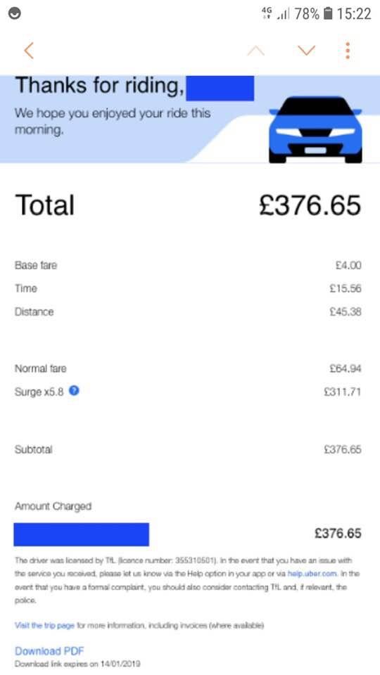 Uber Preis