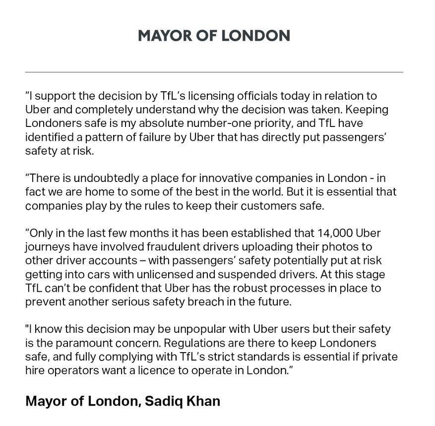 Sadiq Khan auf Twitter zum Lizenzentzug von Uber